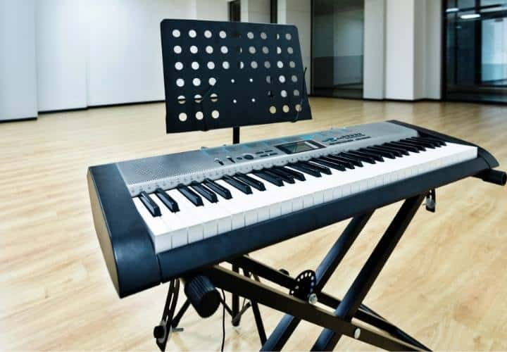 Digital piano on a stand