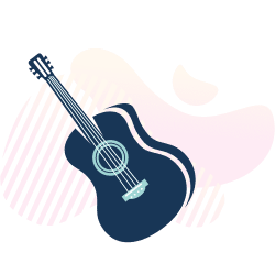 Guitar graphic with gradient background
