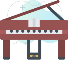 Piano graphic with gradient background